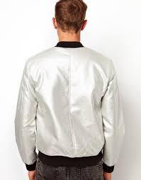 lyst asos er jacket in faux leather metallic for men