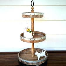 metal and wood 3 tier round tray stand wooden three tiered