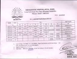 kendriya vidyalaya no eme baroda date sheet of sa i for classes iii to x and half yearly for classes xii 2014 acircmiddot psa sample paper