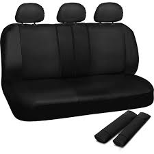 oxgord faux leather rear bench seat covers universal fit for car truck suv van 50 50 60 40 or 40 20 40 split with headrest covers com