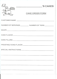 Bakery Cake Order Form Template Cupcake Free Download Hardshellinfo