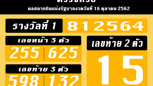 ตรวจหวย 16/10/62 รางวัลที่ 1 เลขท้าย 2 ตัว 3 ตัว เลขหน้า 3 ตัว  และรางวัลอื่น ๆ | Thaiger ข่าวไทย