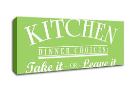 kitchen dinner choices lime green text