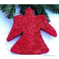 Edel Mega Anhänger Engel Weihnachtsengel 19x20 Cm Sisal Rot