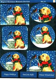 Magical Christmas Moments collection die cut toppers #14 - puppy, robin