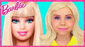 barbie doll kids makeup costume alisa pretend play with giant doll transformation with dress up