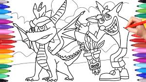 Spyro And Crash Bandicoot Coloring Pages For Kids Coloring Spyro