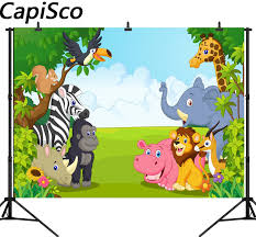 baby safari background. Modren Baby Capisco Seamless Jungle Safari Themed Animals Birthday Party Banner Photo Background  Baby Kids Party Photography Backdrops And Background A