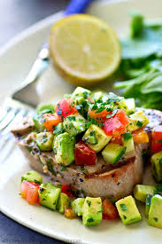 tender tuna steaks are marinated in cilantro and lots of lime grilled until perfectly smoky