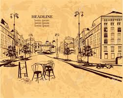 Old Brochures Series Of Backgrounds Decorated With Old Town Views And Street