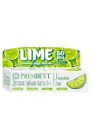Kids' choice - PRESIDENT <b>Junior</b> Lime 6-12 <b>зубная паста</b>-гель со ...