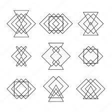 набор модные хипстеры геометрических фигур этническая татуировка