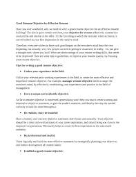 Objectives In Resumes Good Objective For Resume Career Objectives