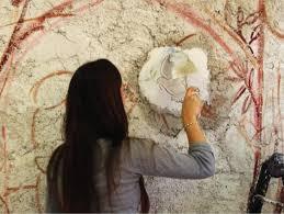 a jcu student tries her hand at michelangelo s famous fresco technique