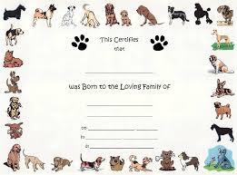 Dog Birth Certificates Printable Dog Birth Certificate Template