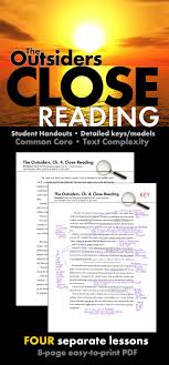 best images about the outsiders student outsiders close reading lesson materials for four chapters s e hinton ccss