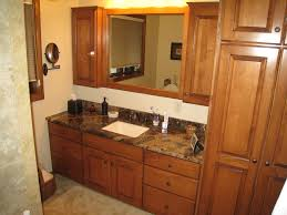 Bathroom Cabinet Tower Furniture Brown Wooden Bathroom Cabinet With Linen Storage Among