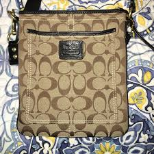 coach small crossbody purse. Signature print.