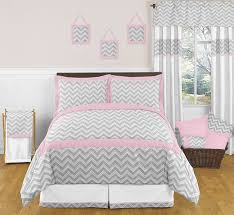pink and gray chevron childrens and kids bedding 3pc full queen set by sweet