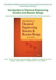 Reactor Design For Chemical Engineers Pdf Read Pdf Epub Introduction To Chemical Engineering Kinetics