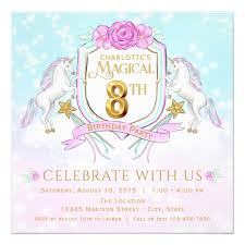 8th Birthday Party Invitations Girls Unicorn 8th Birthday Party Invitations Zazzle Com