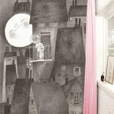 Kek Amsterdam Kinderbehang Moonlight Grijs Zwart Wit Vliespapier 194