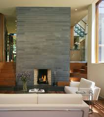 Gray Brick Fireplace Gray Brick Fireplace Living Room Contemporary With Built In Stairs
