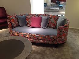 the oval shaped sofa with fabric