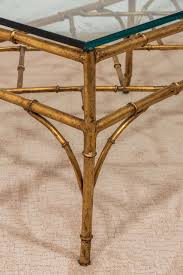 chinoiserie a midcentury faux bamboo gilded metal coffee table with bracket stretcher for