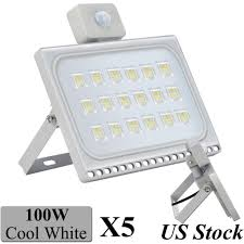 5x 100w led outdoor motion sensor flood lights garage driveway security daylight