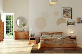 japanese home decor bedroom with wooden furniture and wall decor