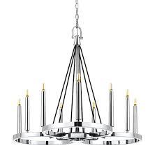 cal lighting chrome nine light led chandelier