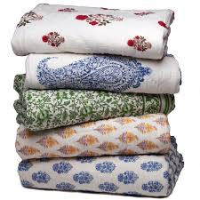 block printed cotton filled quilts