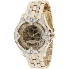elgin men s crystal bezel transparent automatic skeleton watch elgin men s crystal bezel transparent automatic skeleton watch gold walmart com