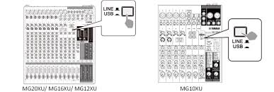 mg series xu model analog mixers mixers live sound 1 set the line usb switch on the stereo channel to usb