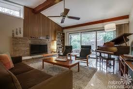 mid century fireplace living room