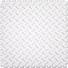 perfection floor tile 8 piece 20 5 in x 20 5 in white diamond plate