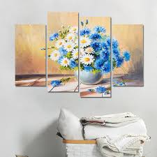 blue flower painting modern canvas wall art avatar decorations home posters and prints 4 pieces on canvas wall art blue flowers with blue flower painting modern canvas wall art avatar decorations home