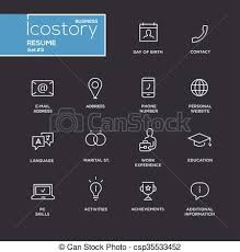 Modern Resume Contact Information Modern Resume Simple Thin Line Design Icons Pictograms Set Set Of