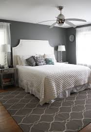 bedroom: Engaging Grey Accents Wall Paint For Bedroom With White Bed Set  And Fetching Rugs