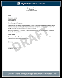 Leave Request Form Sample Interesting Leave Of Absence Letter Create Download A Free Template