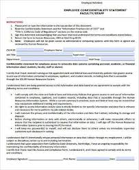 Employee Confidentiality Agreement Employee Statement Form Samples - 9+ Free Documents in Word, PDF