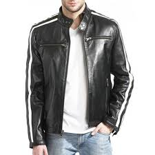 men s white striped desing biker style black leather jacket