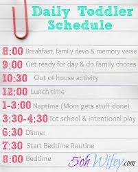 Toddler Schedule Chart Daily Toddler Schedule And Routine With Tot School And