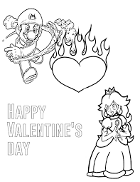 Small Picture Mario And Princess Valentines Day Coloring Page H M Coloring Pages