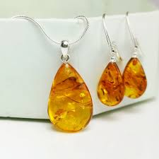 details about baltic amber jewelry set sterling earrings amber pendant necklace handmade