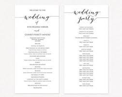 Wedding Program Templates Ceremony Program Template Diy Etsy