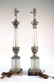 glass lamps with corinthian columnarble base 110799 2