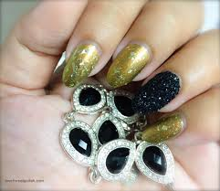 Black Glitter Nail Art Accent Design ~ With Shimmery Olive Green ...