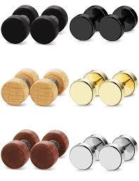 Fibo Steel 6 Pairs Stud Earrings For Men Women Ear Piercing Ear